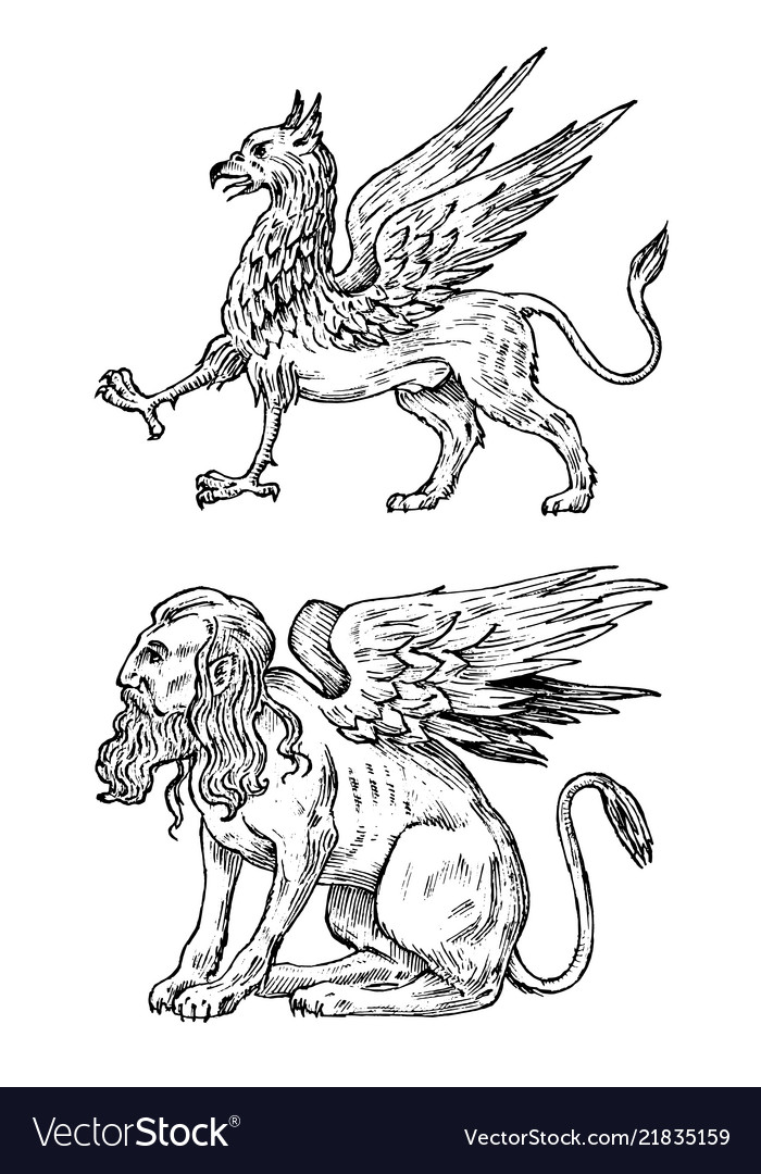 Mythological animals mythical sphinx and antique