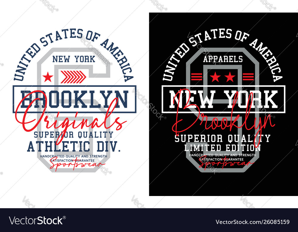 New york brooklyn typography design athletic