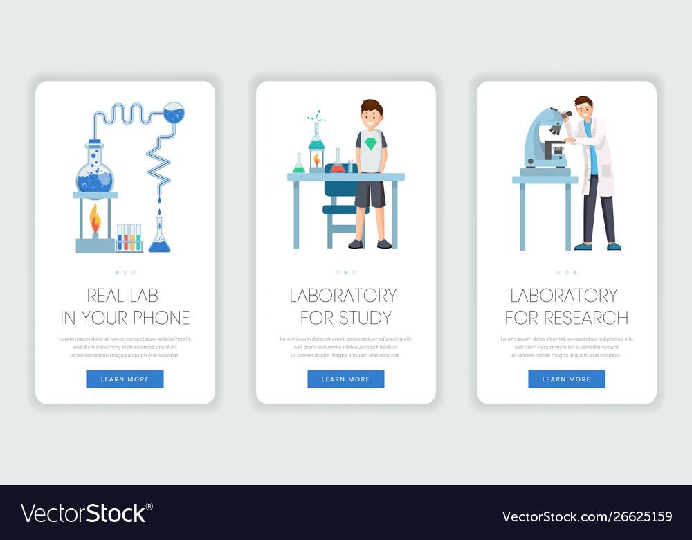 Research laboratory mobile webpage templates set