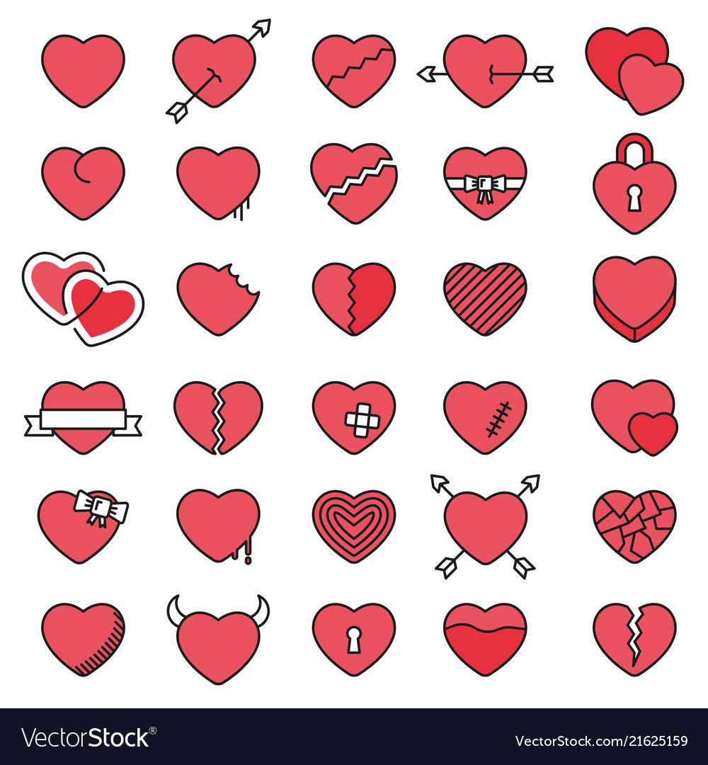 Set of 30 simple icons hearts for valentines day