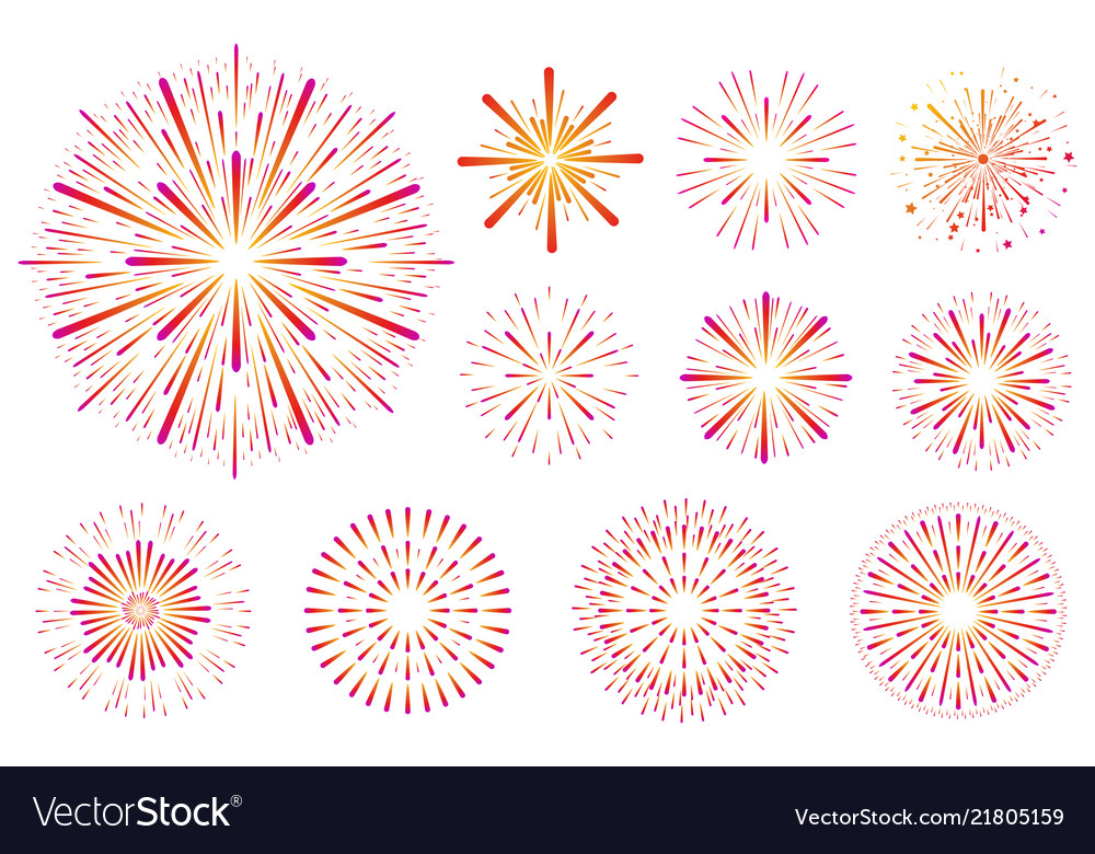 Set of festive colored fireworks isolated on white