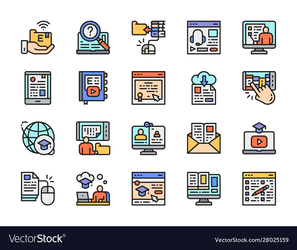 Set online education color line icons library