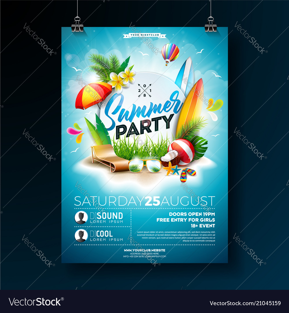 Summer beach party flyer design with vector image