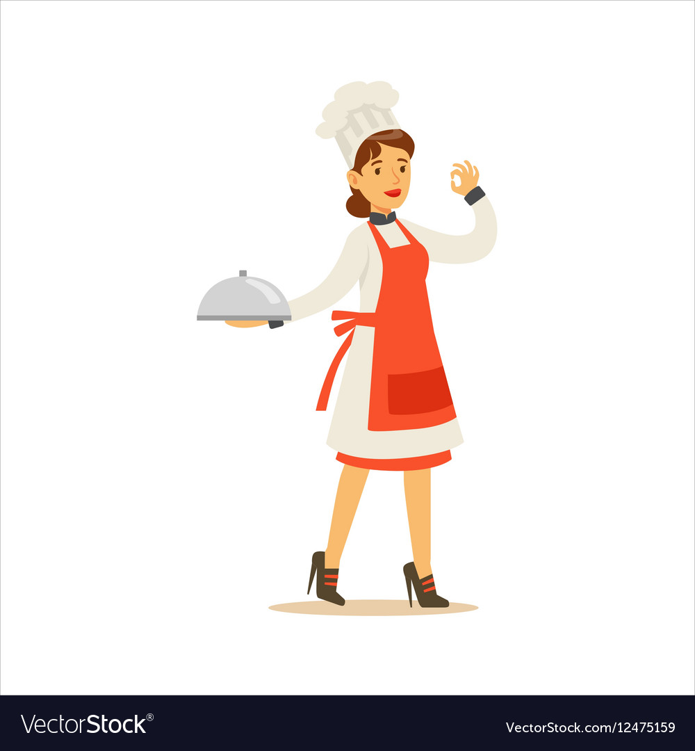 Woman Professional Cooking Chef Working In