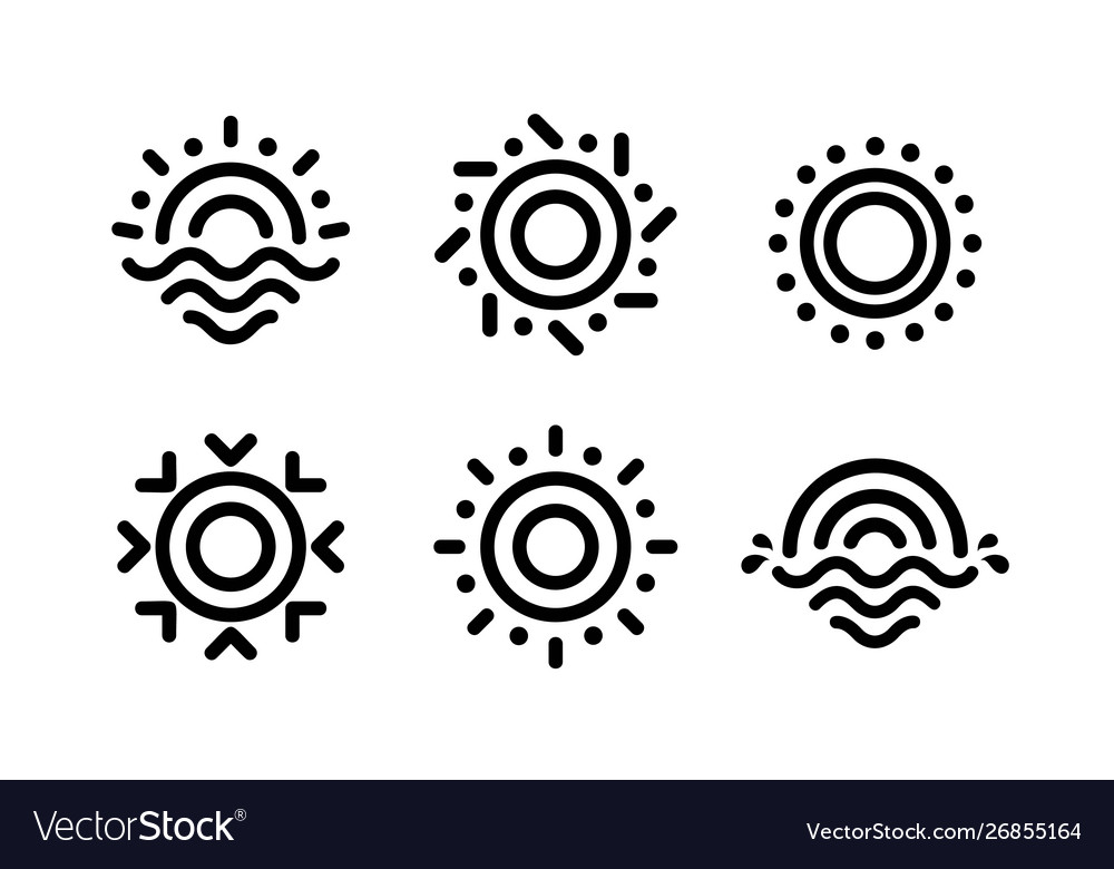 Abstract linear sun icons set unusual outline