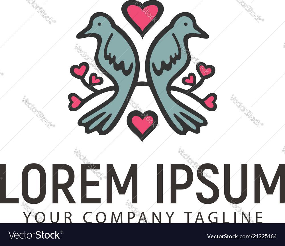Couple dove hand drawn logo design concept