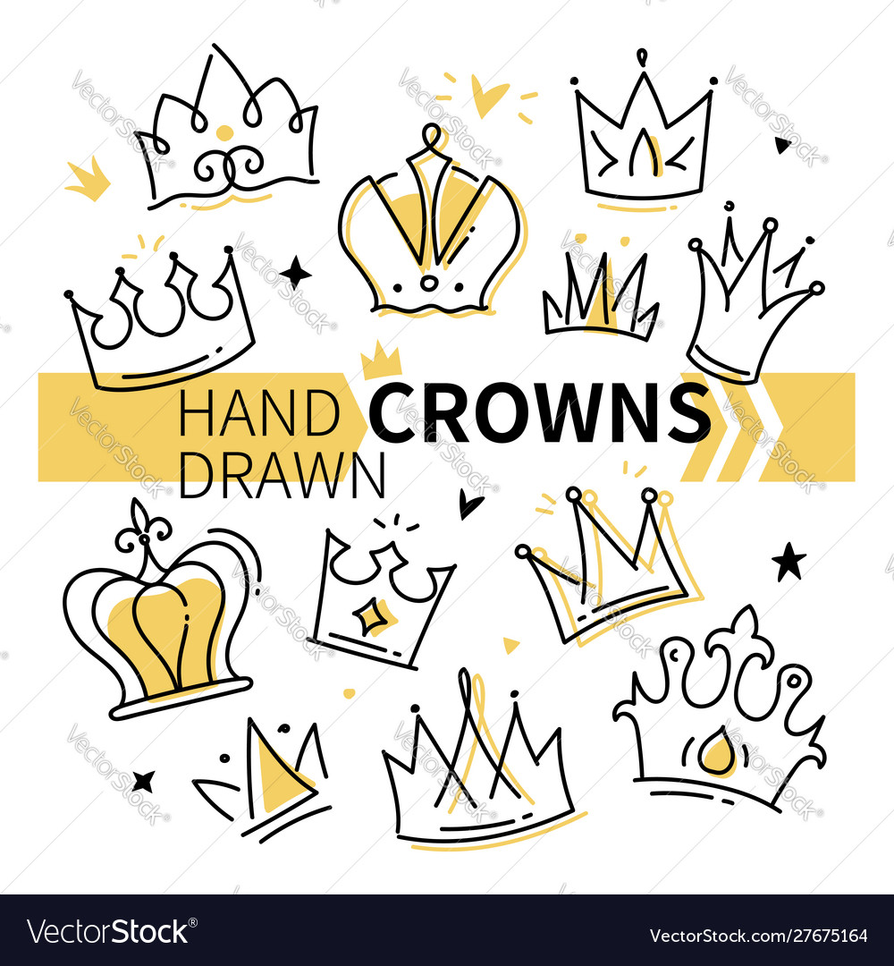 Hand drawn crowns collection - set