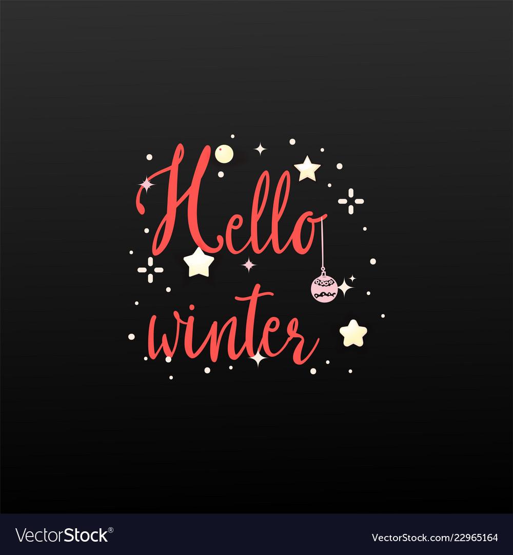 Hello winter holiday banner