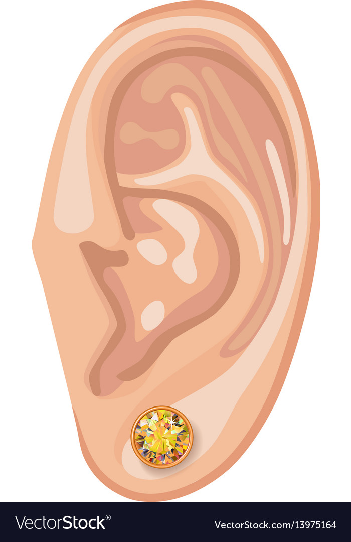 Human ear and earring