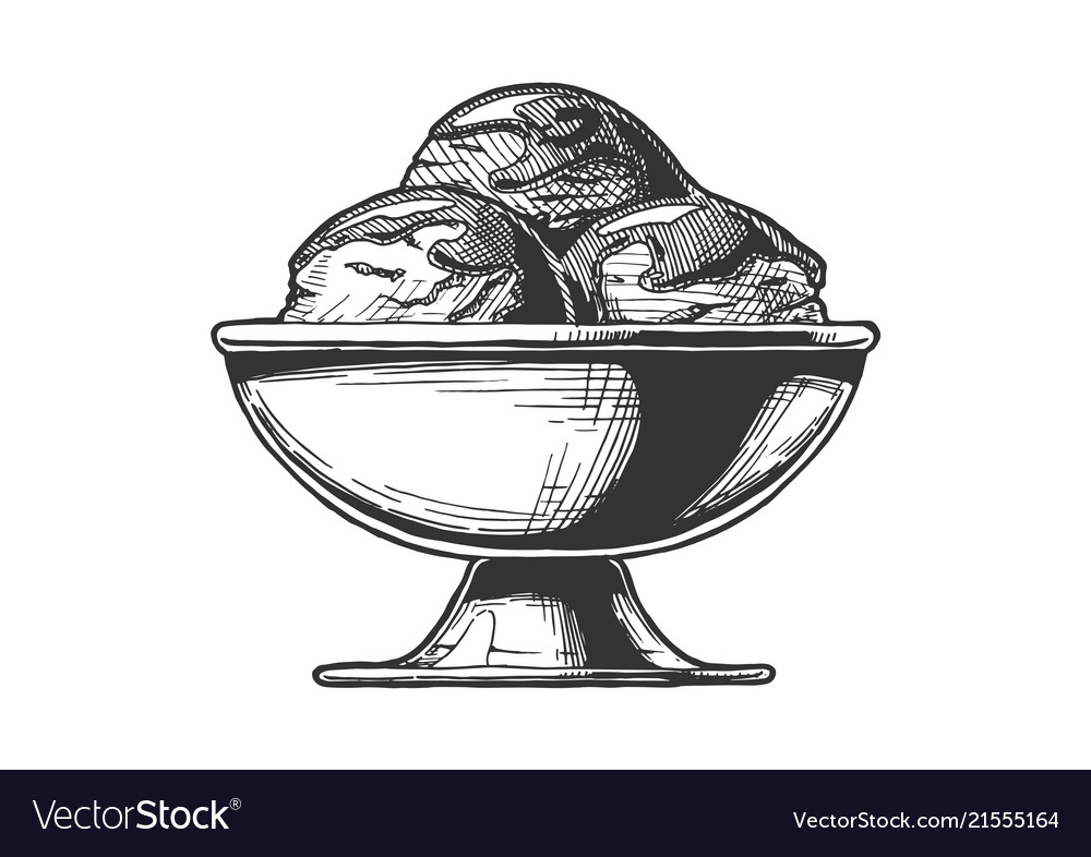 Ice cream served in steel bowl