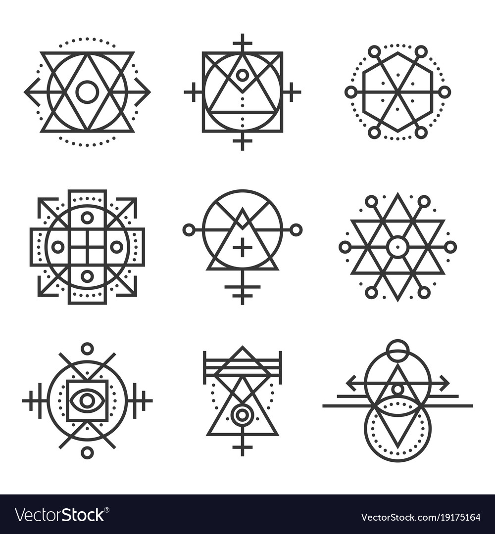 Sacred geometry elements and hipster symbols set vector image