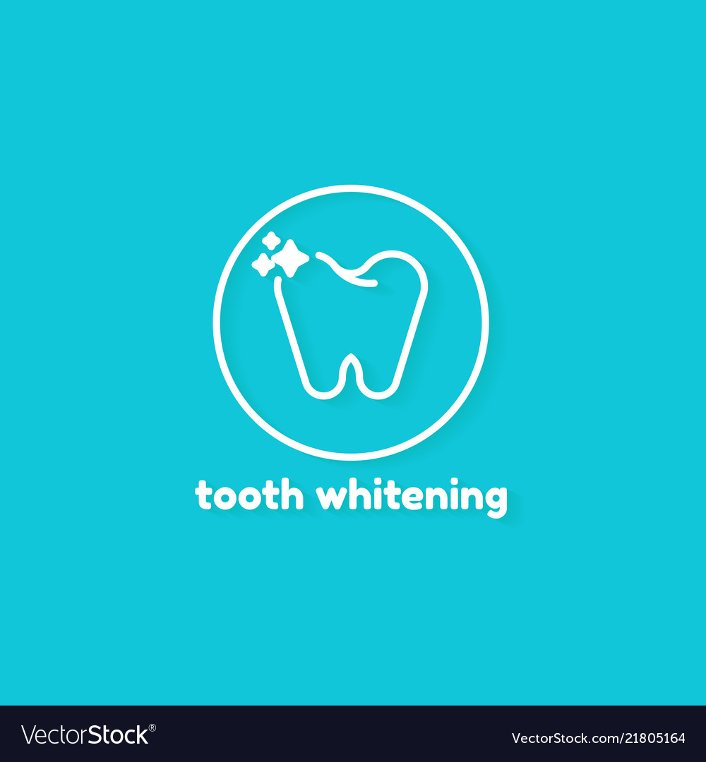 Template logo for tooth whitening on blue