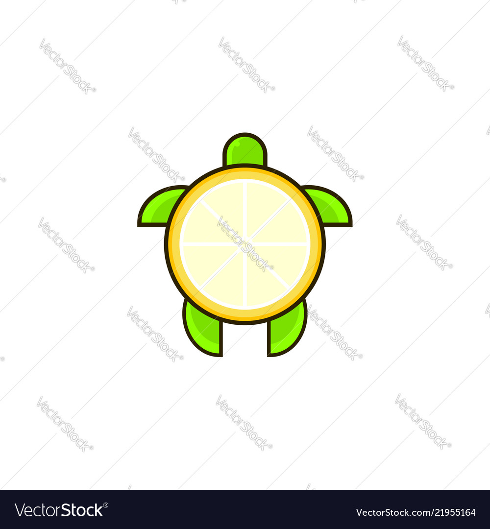 Turtle and lemon combination logo template