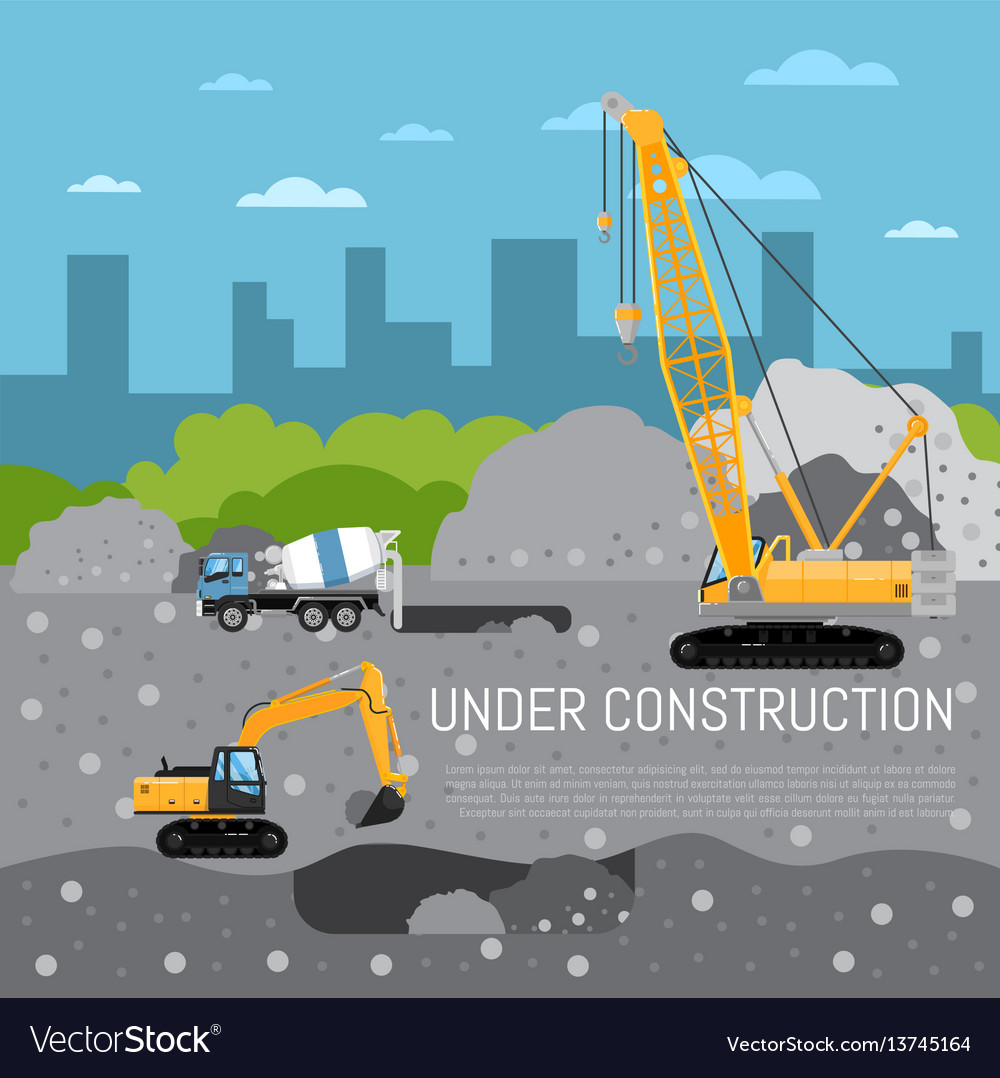 Under construction banner with machinery