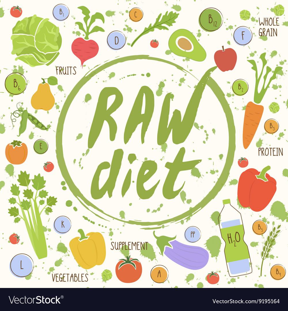 Vegan diet healthy food background vector image