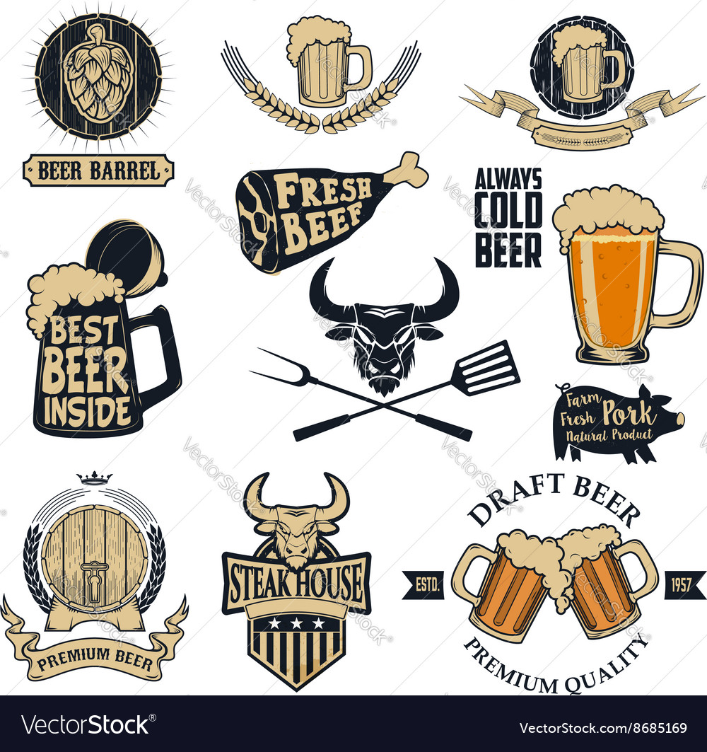 Beer and steak vector image