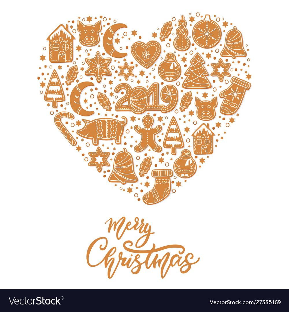 Christmas gingerbread cookies card merry