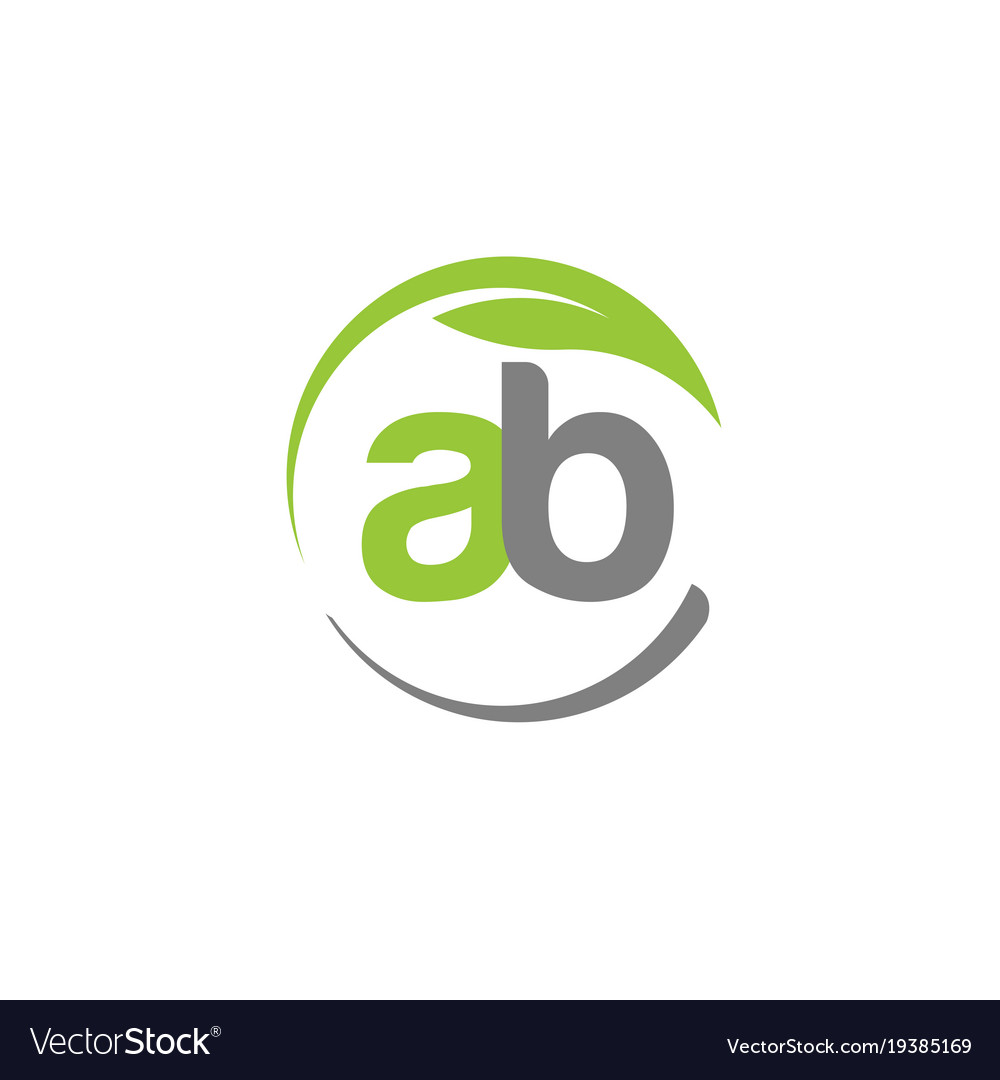 Creative letter ab with circle green leaf logo