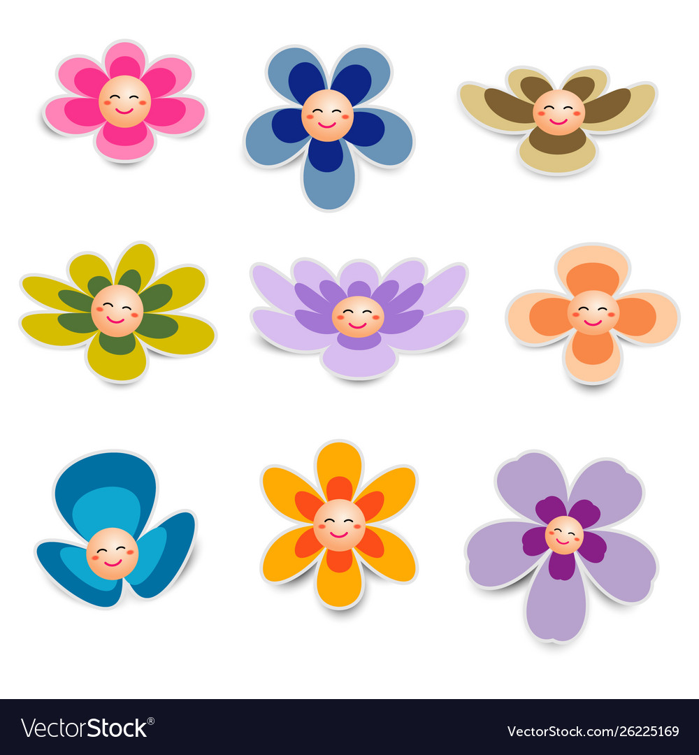 Flower paper with smiley face on white background