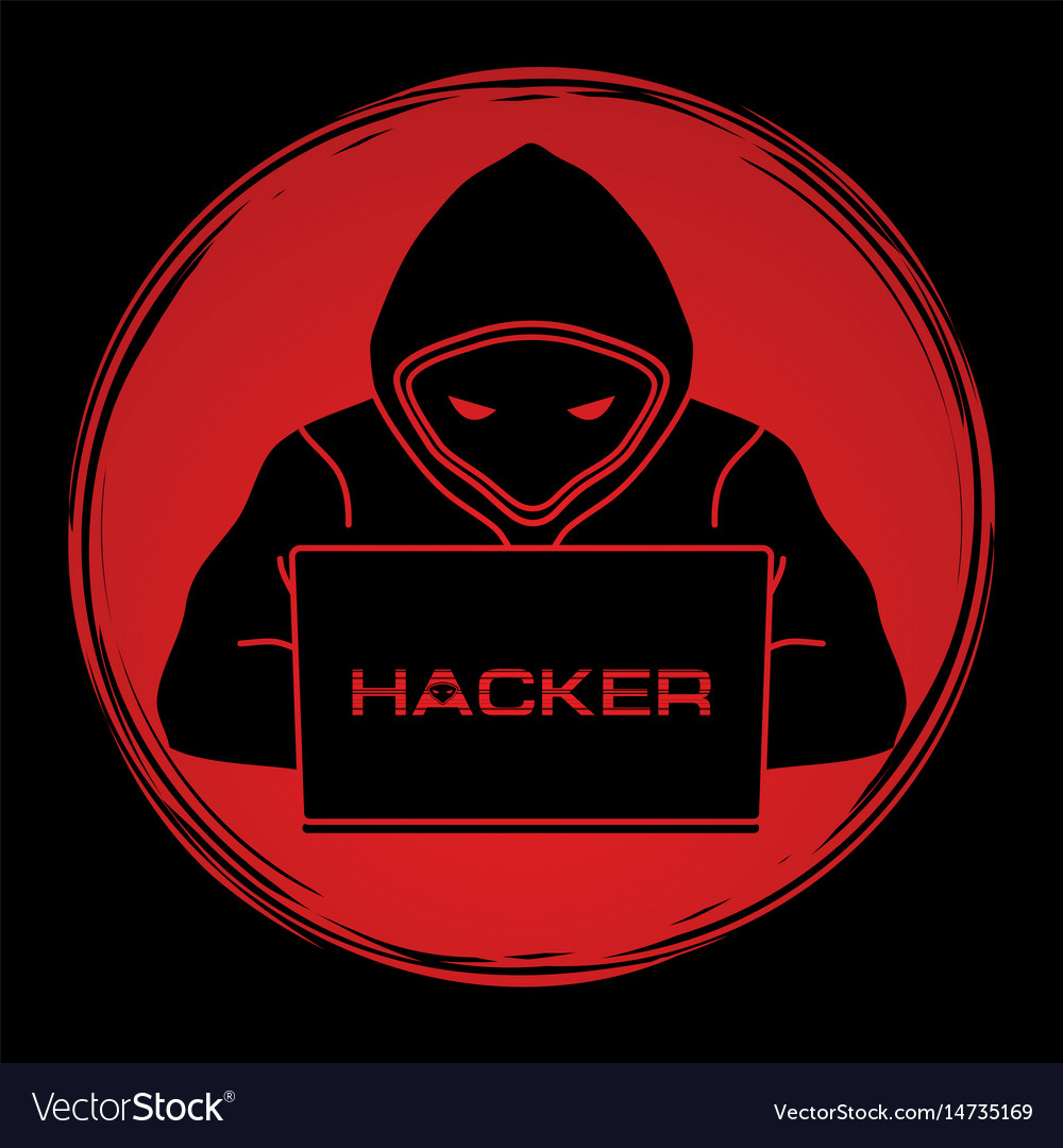 Hacker Working On Laptop Royalty Free Vector Image