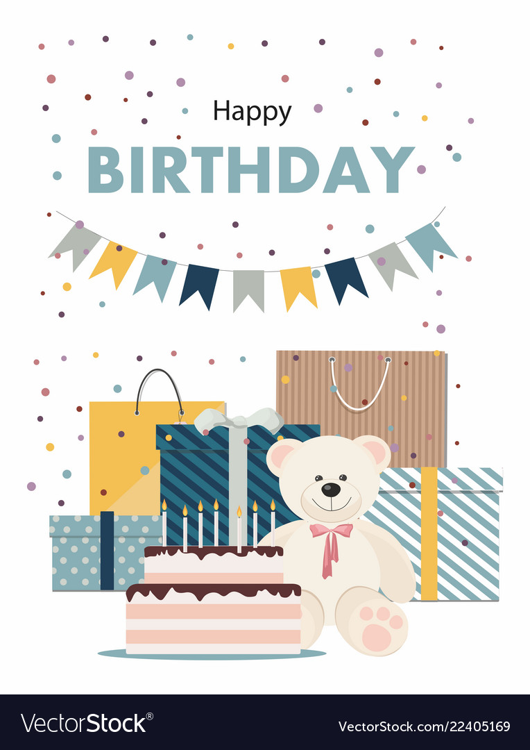 Happy birthday card with teddy bear cake gifts