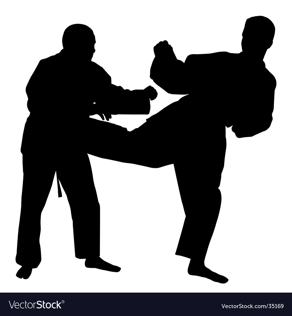 karate fight royalty free vector image vectorstock