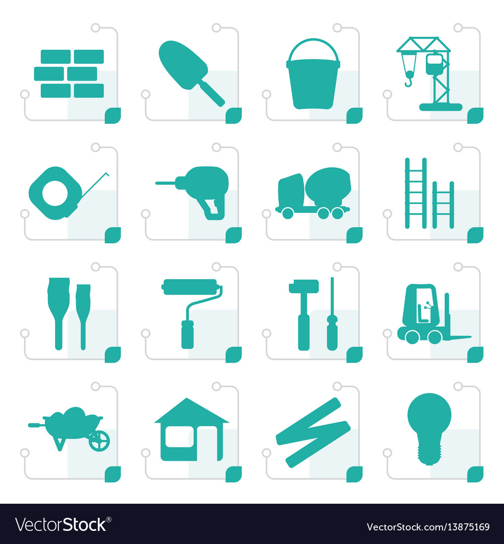 Stylized construction and building icon set
