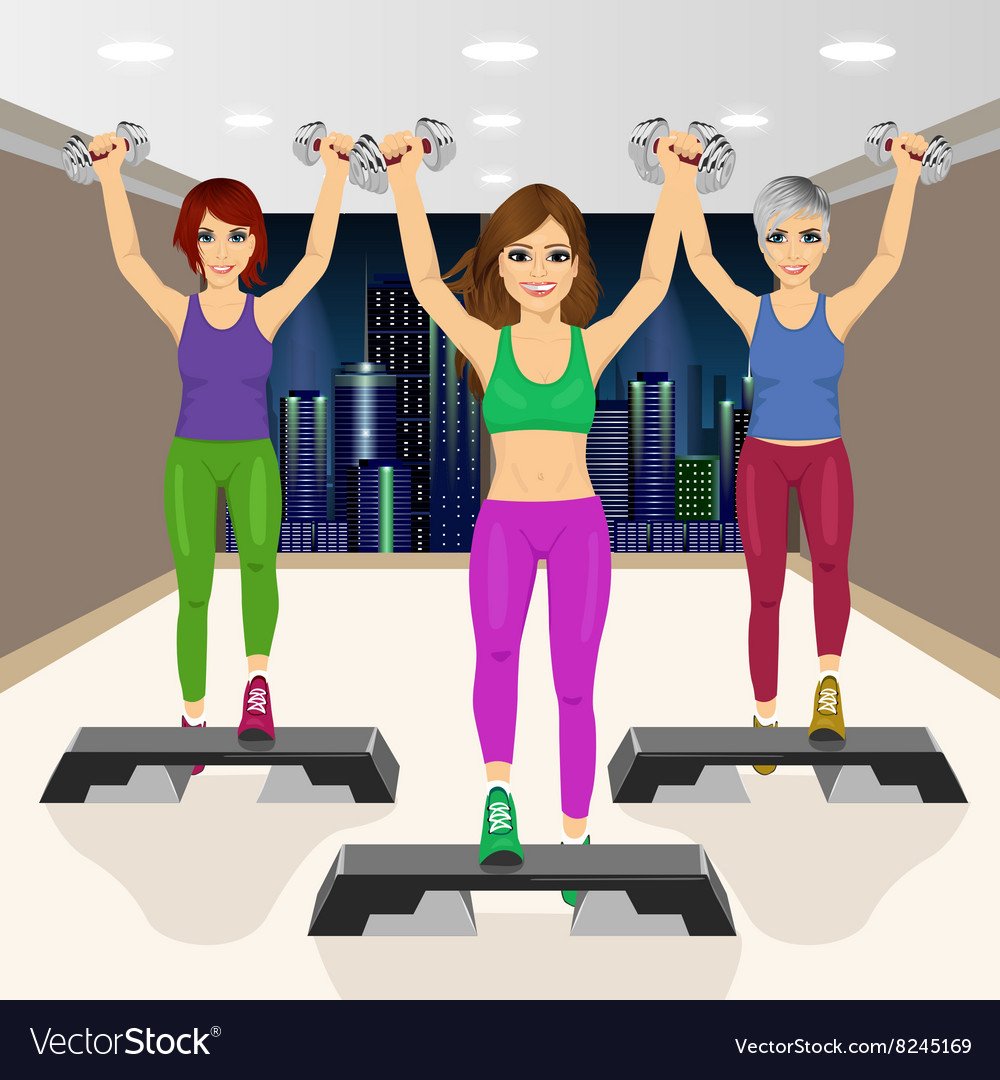 Three beautiful young girls doing aerobic vector image