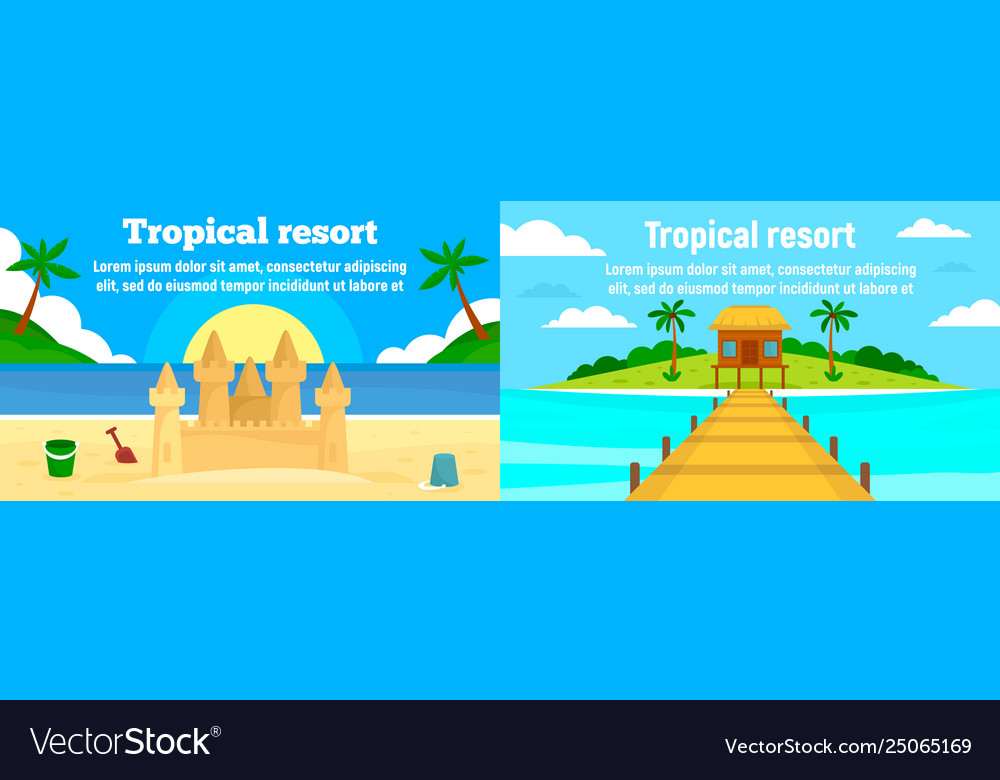 Tropical resort banner set flat style