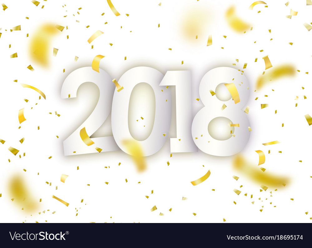2018 happy new year gold confetti tiny paper vector image