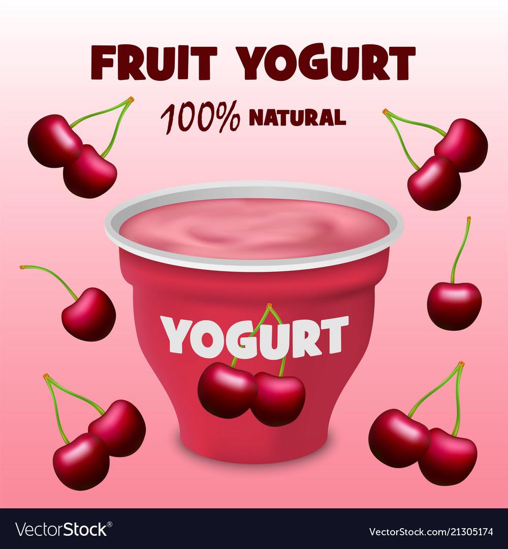 Cherry fruit yogurt concept background realistic