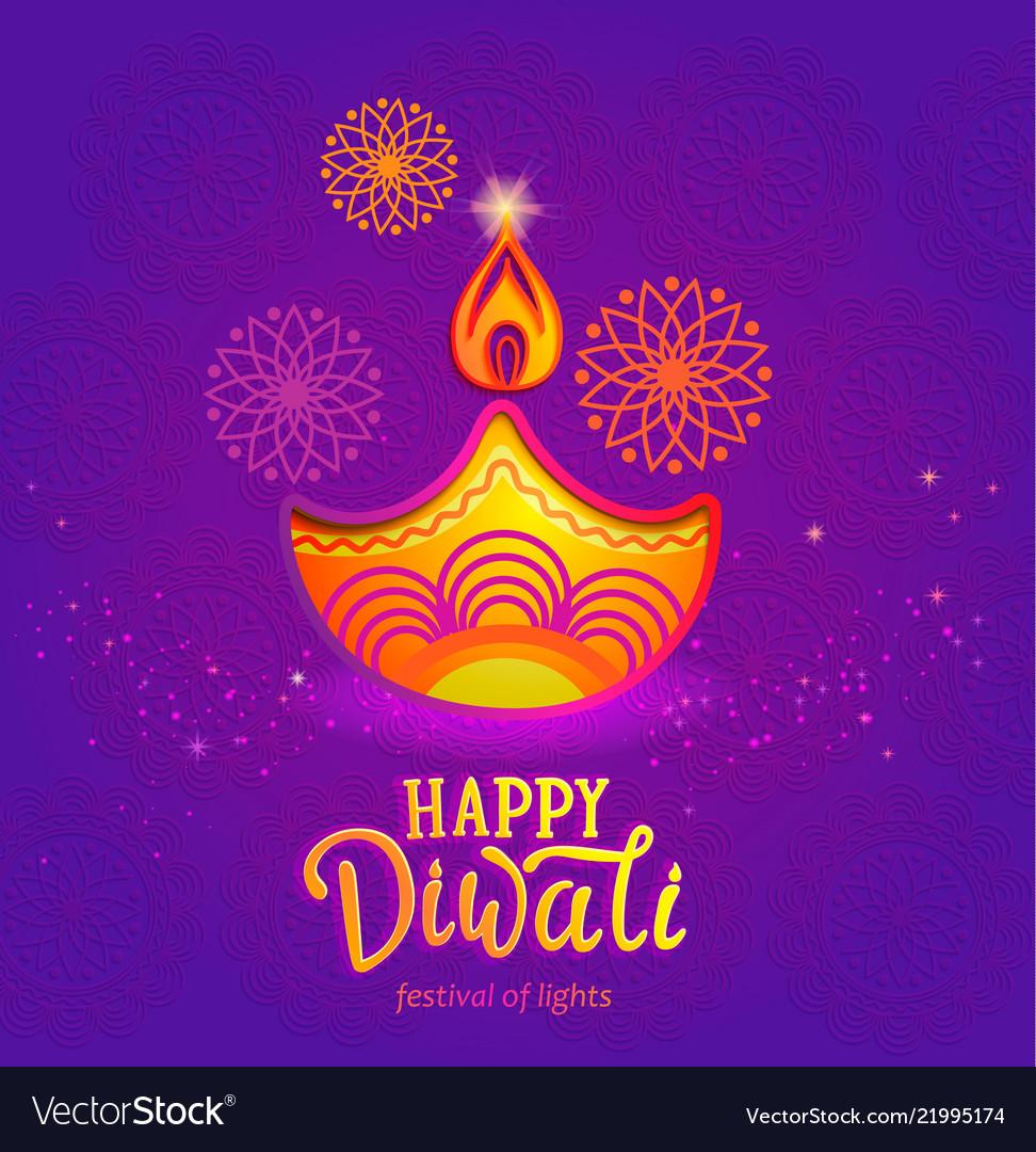 Cute banner for happy diwali festival of lights