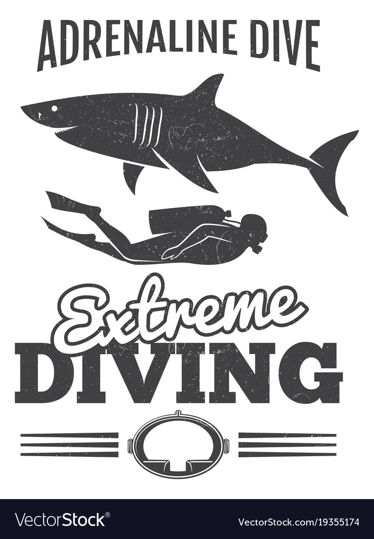 Grunge vintage diving poster design with shark and