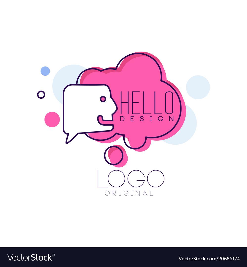 Hello logo original design pink badge with hello