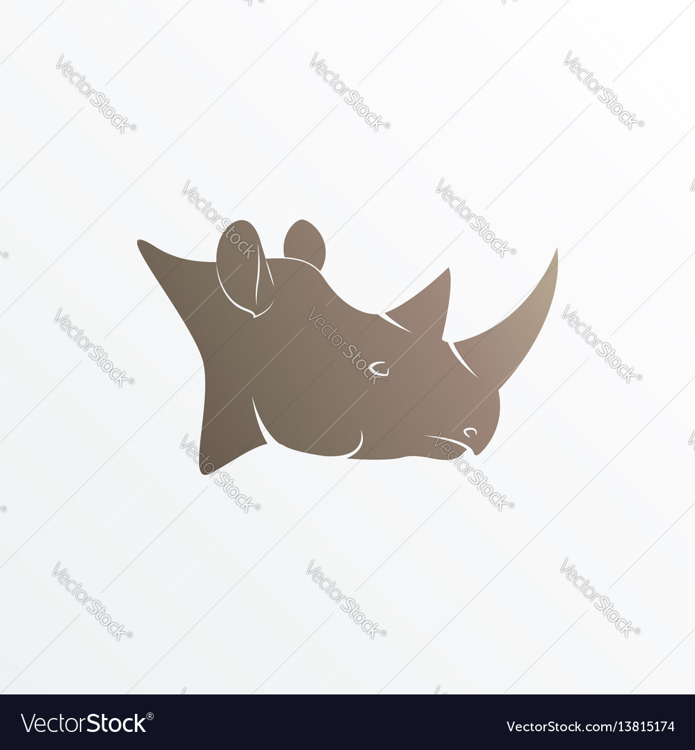 Image of brown rhino head vector image