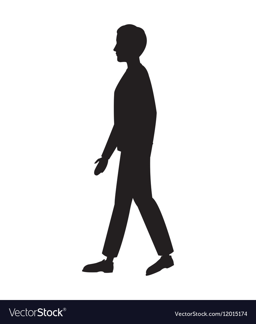 silhouette man walking side view royalty free vector image