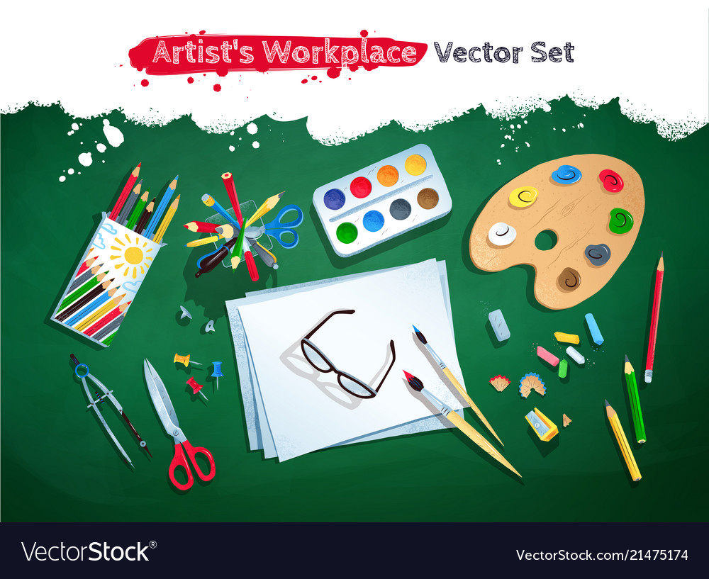Top view artist workplace set