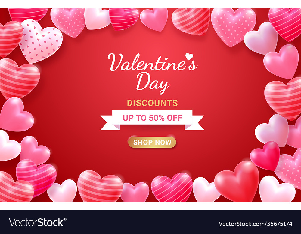 Valentines day card with heart 3d and ribbon vector