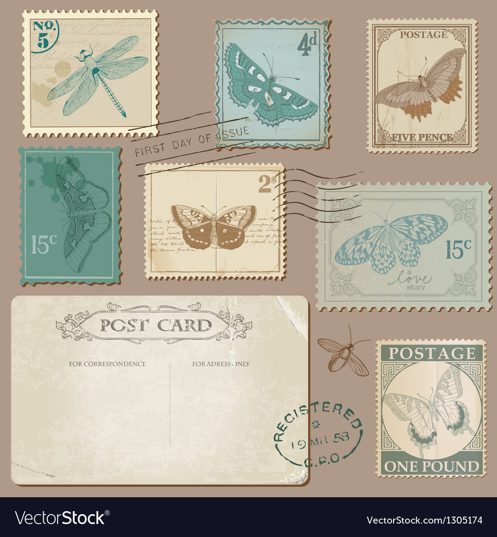 Vintage Postcard and Postage Stamps with Butterfli