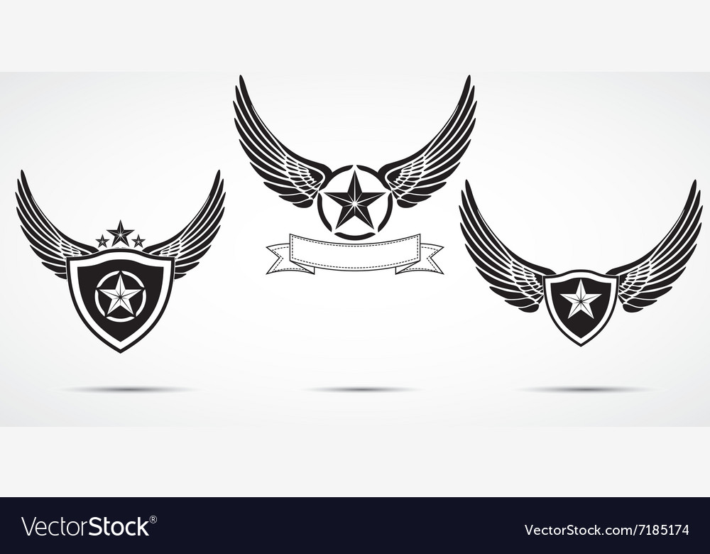 Wing abstract emblem set logo template badge label