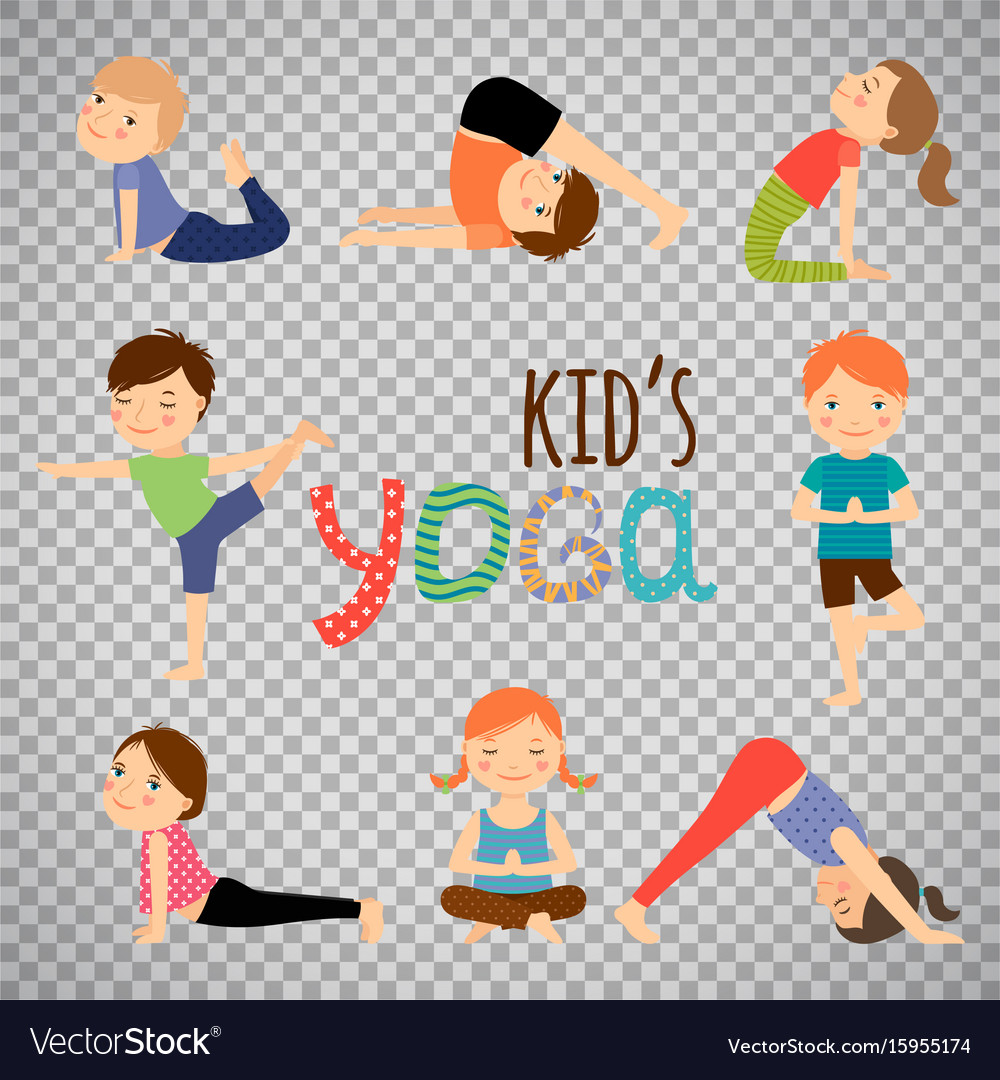 Yoga kids set on transparent background