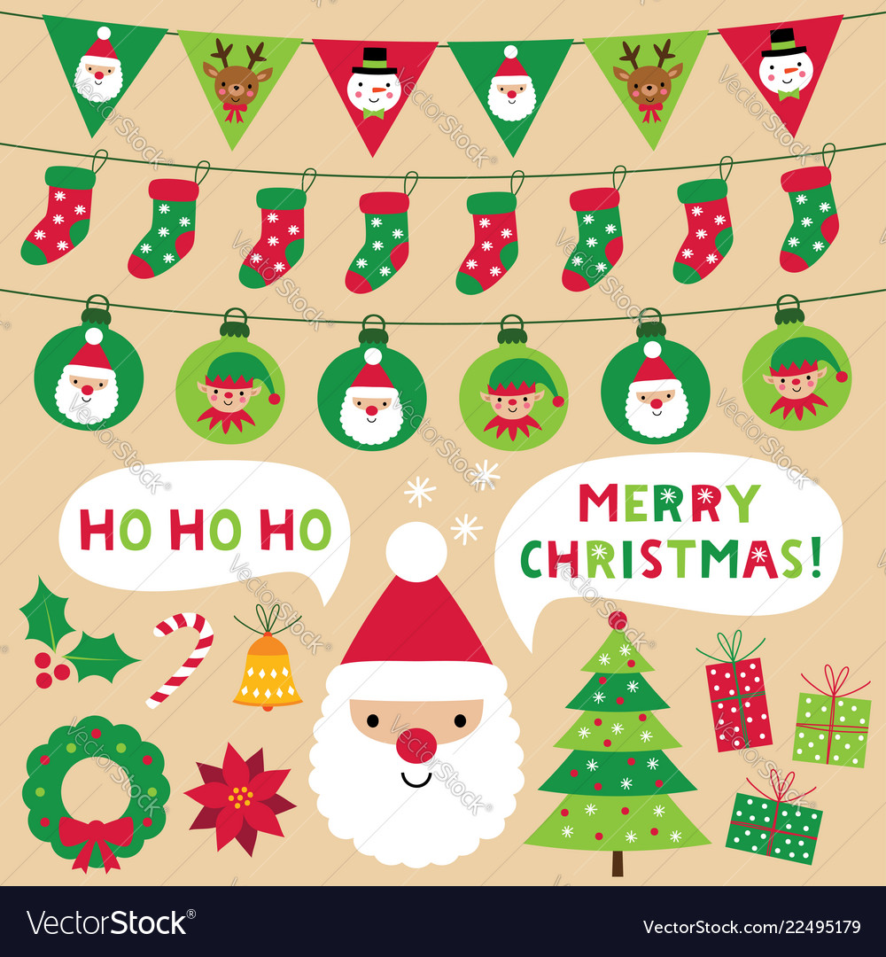 Christmas decoration and design elements set