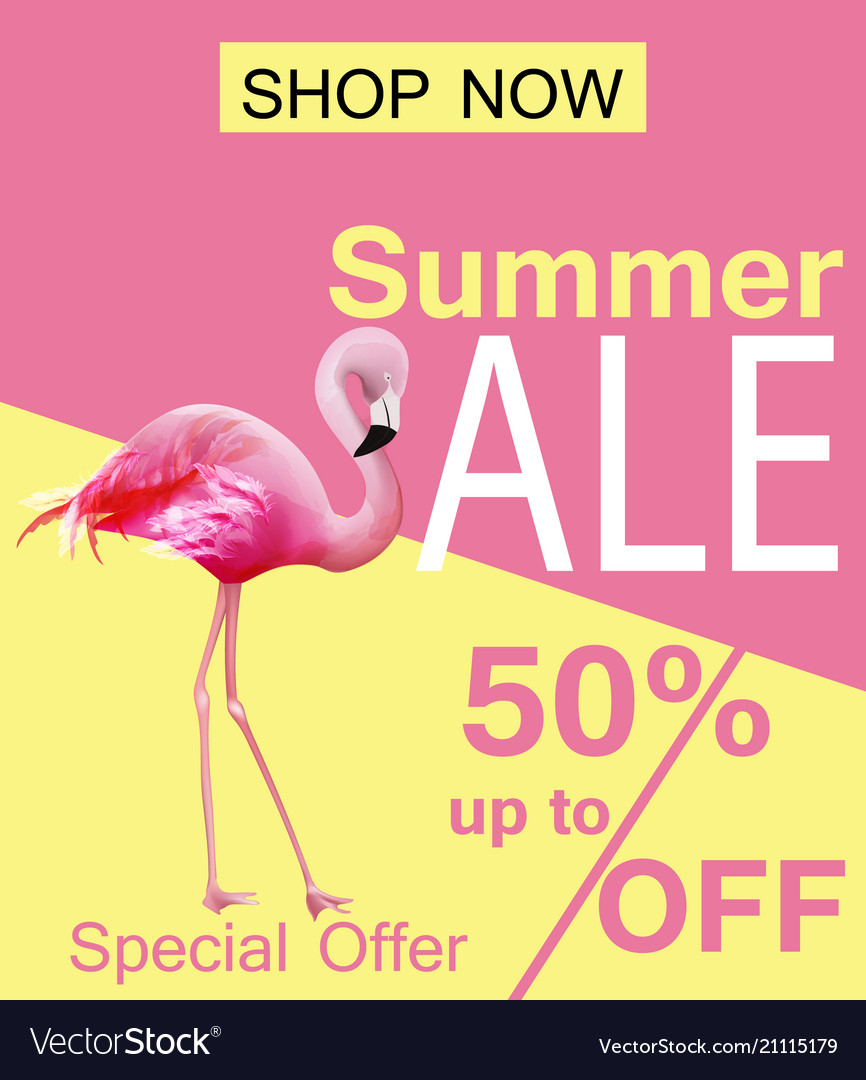 Flamingo summer sale card violet and pink