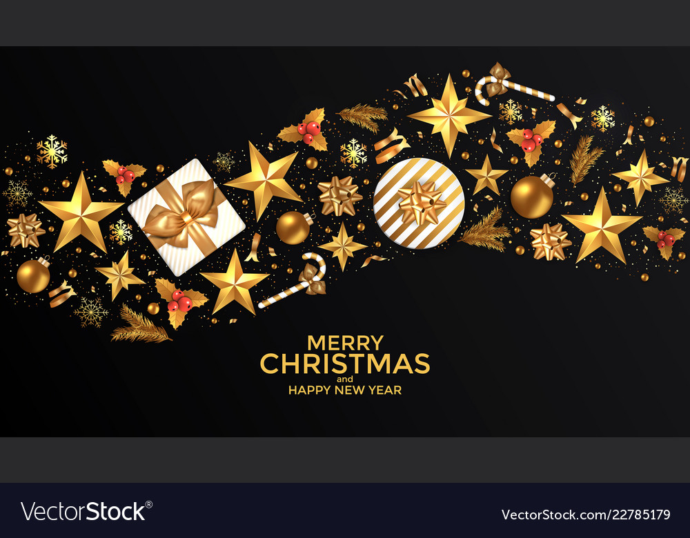 Holiday new year card - 2019 on black background 4
