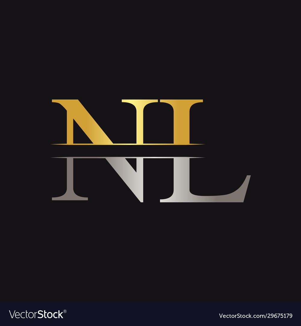 Initial monogram letter nl logo design template