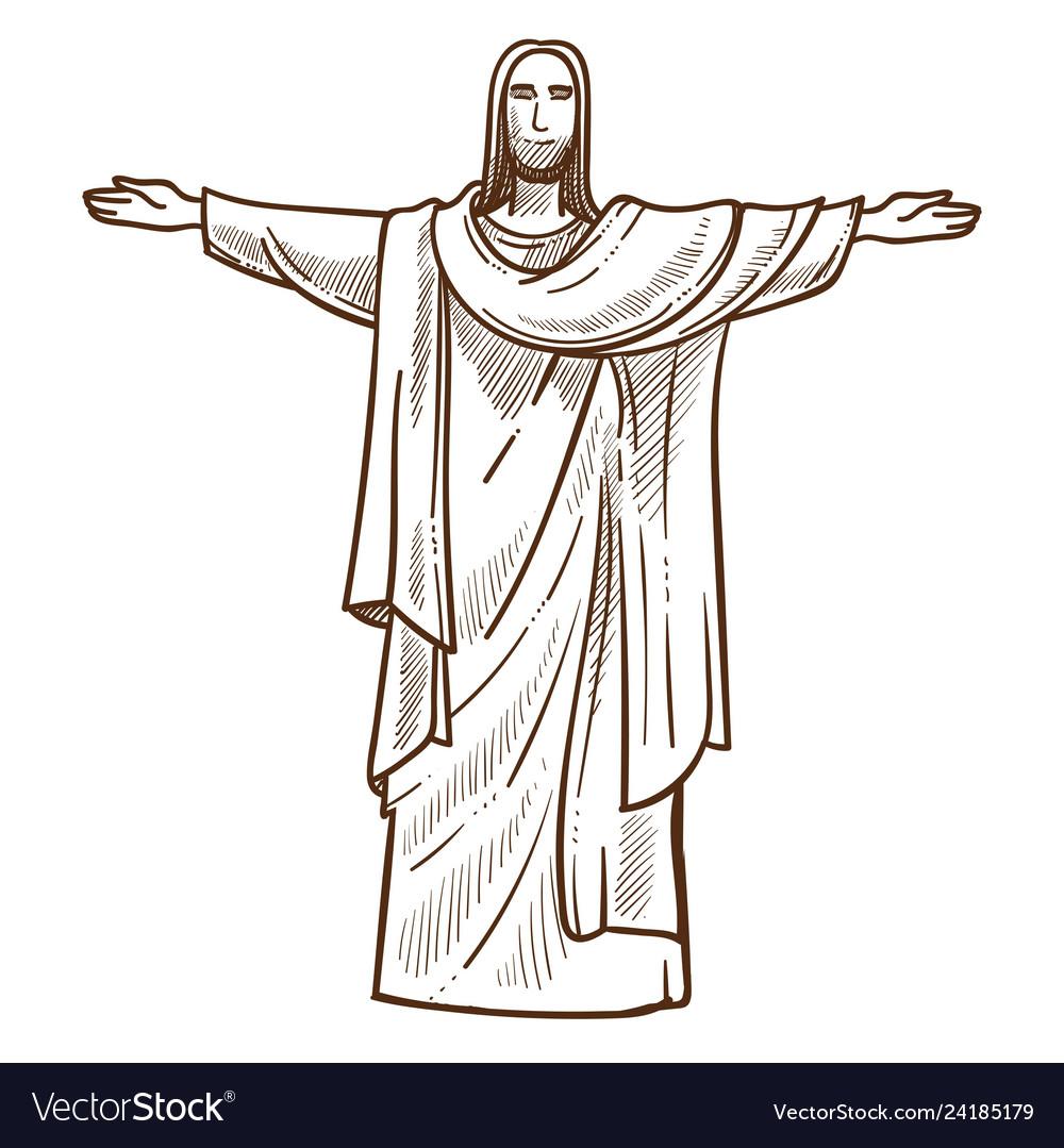 Jesus christ statue in rio de janeiro monochrome