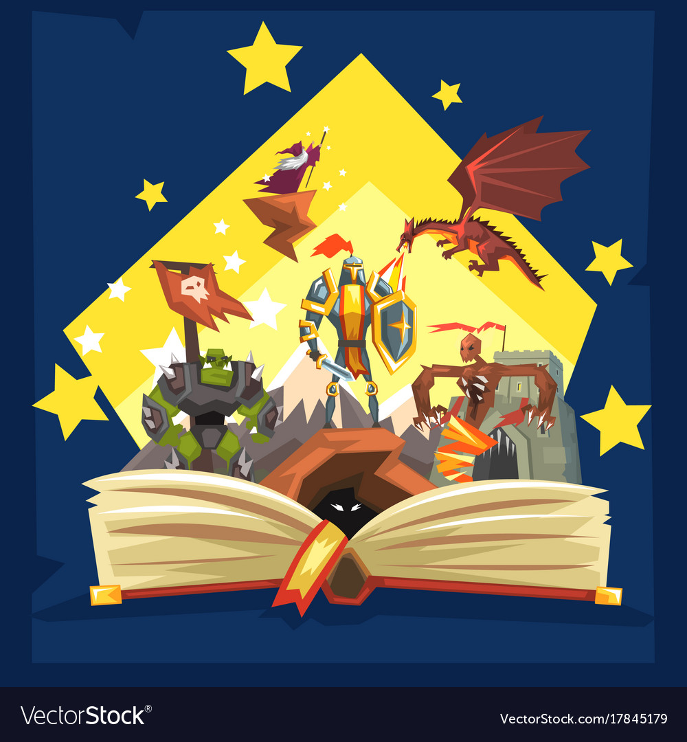 Open book with legend fairy tail fantasy book
