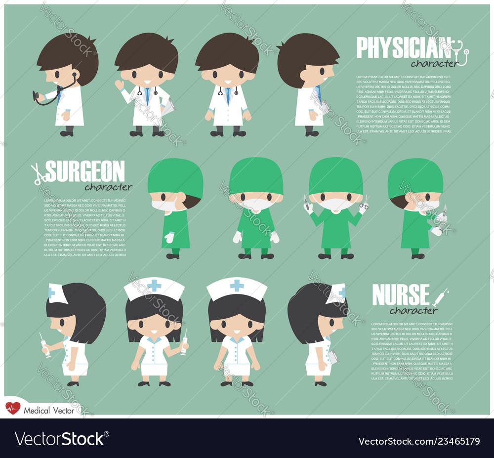Physician surgeon and nurse cartoon character