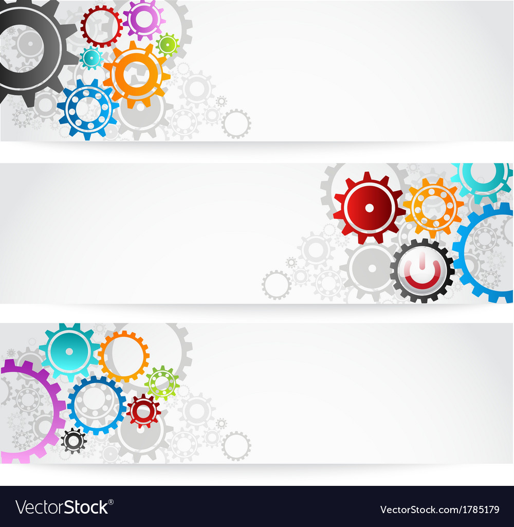 Set of gears banner for business commerce