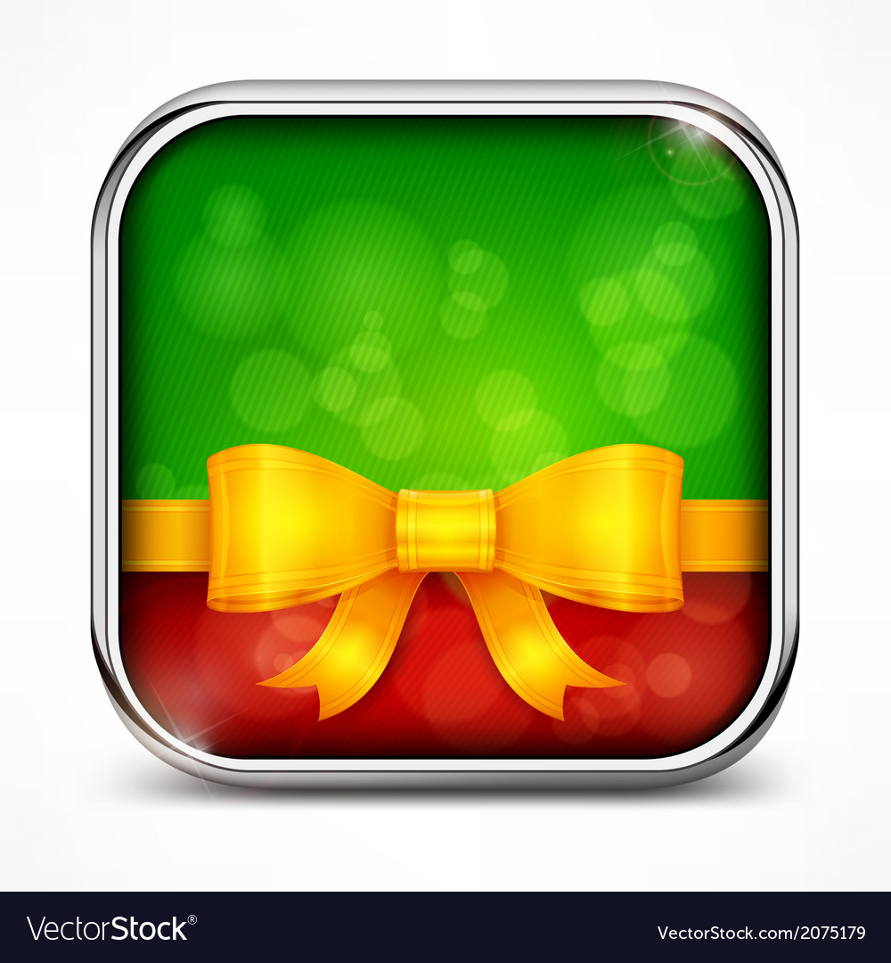 Square green icon bow